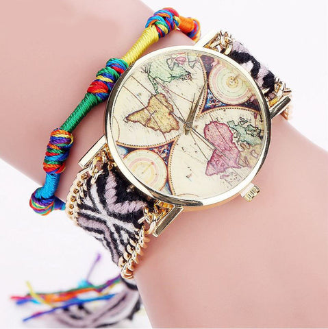 Handmade Braided World Map Watches