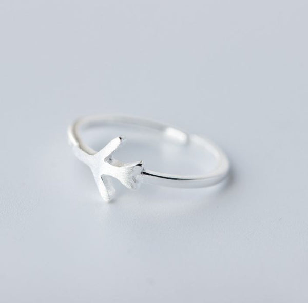 "Silver resizable ring ""plane"""