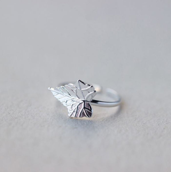 "Silver resizable ring ""Maple Leaf"""