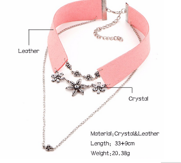 Crystal Flower Tattoo Choker (2 colors)