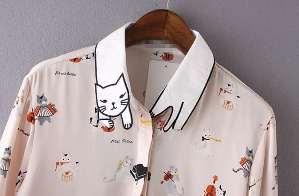 Blouse with cats