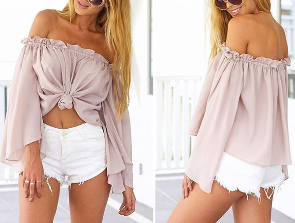 Summer blouse with open shoulders