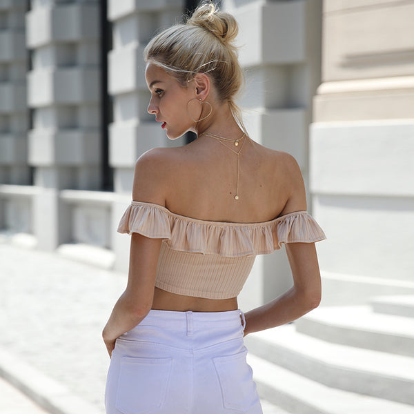 Sexy ruffle knitting off shoulder top