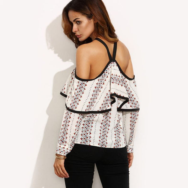 Blouse with open shoulders