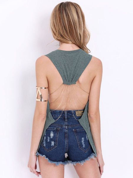 T-shirt with open back