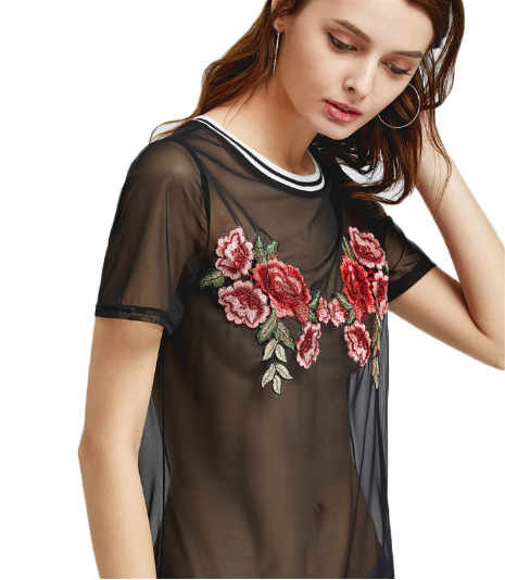 Mesh Embroidered T-shirt