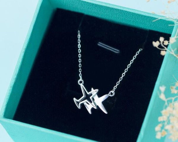 "Silver necklace ""planes"""