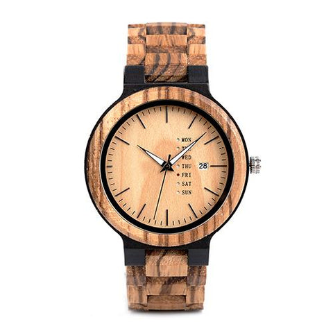New Wood Watch with Week Display Date