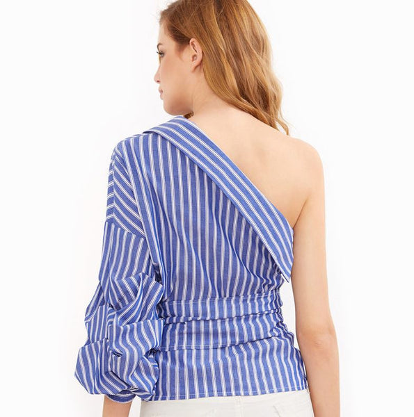 One Shoulder Wrap blouse