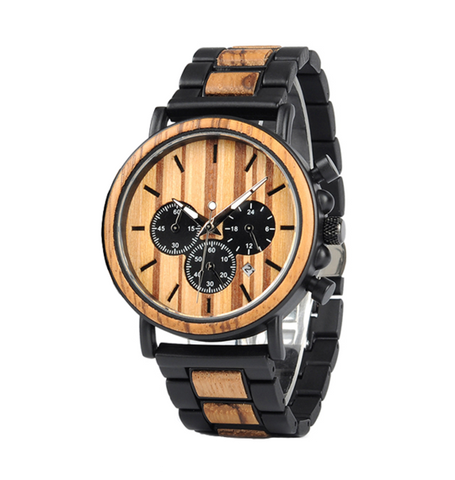 Wood Metal Onyx Watch