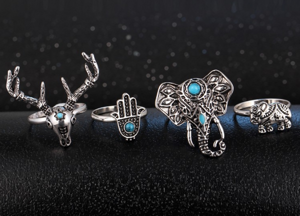 New set of vintage rings with animals