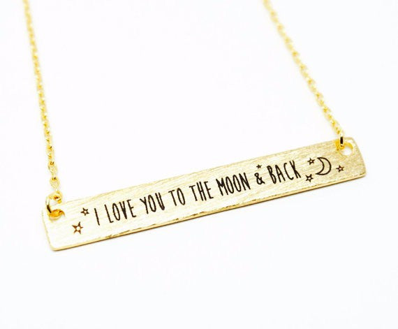 "Necklaces ""I love you to the moon and back"""
