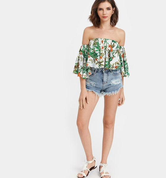 Summer blouse with tropical print