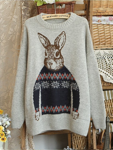 Cute sweater with rabbit