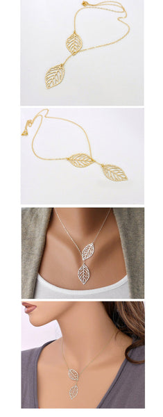 Nice two leaf pendants Necklace