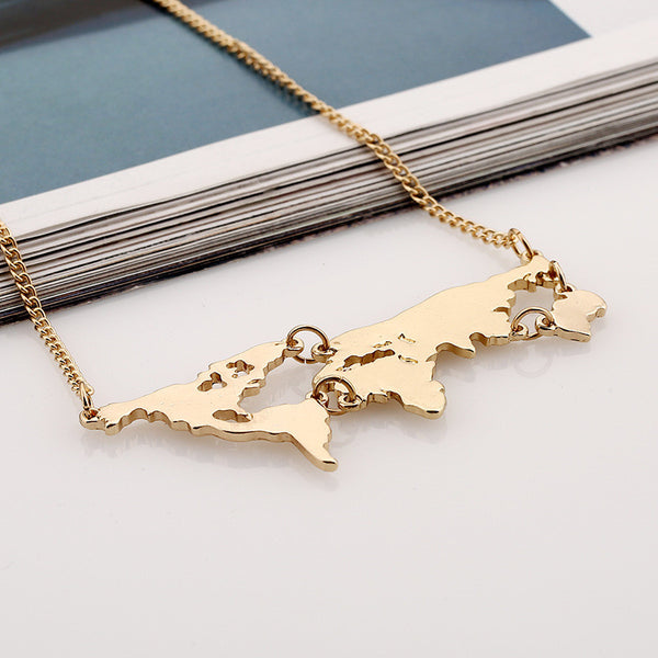 Nice world map necklace miladystore nice world map necklace gumiabroncs Choice Image
