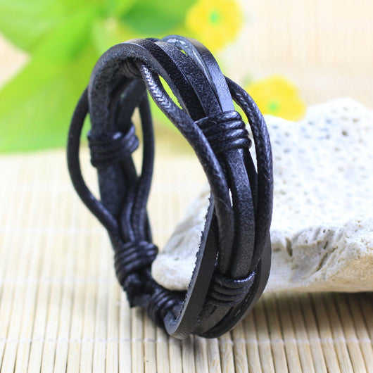 Leather black bracelet