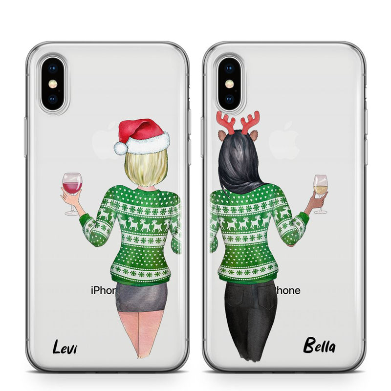 Xmas Babes - BFF Transparant Naamhoesjes Custom Clear Cases PhoneJunkie