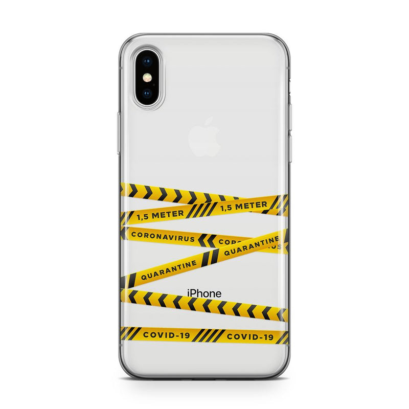 Covid Warning - Transparant Naamhoesje Custom Clear Cases PhoneJunkie