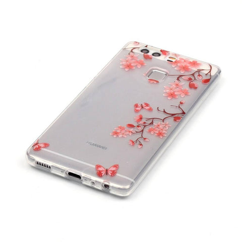 Huawei P9 - Red Blossom Transparant hoesje