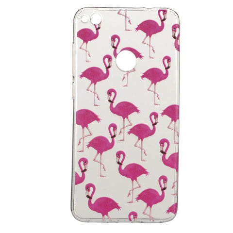 Huawei P8 Lite 2017 - Pink Flamingo Transparant hoesje