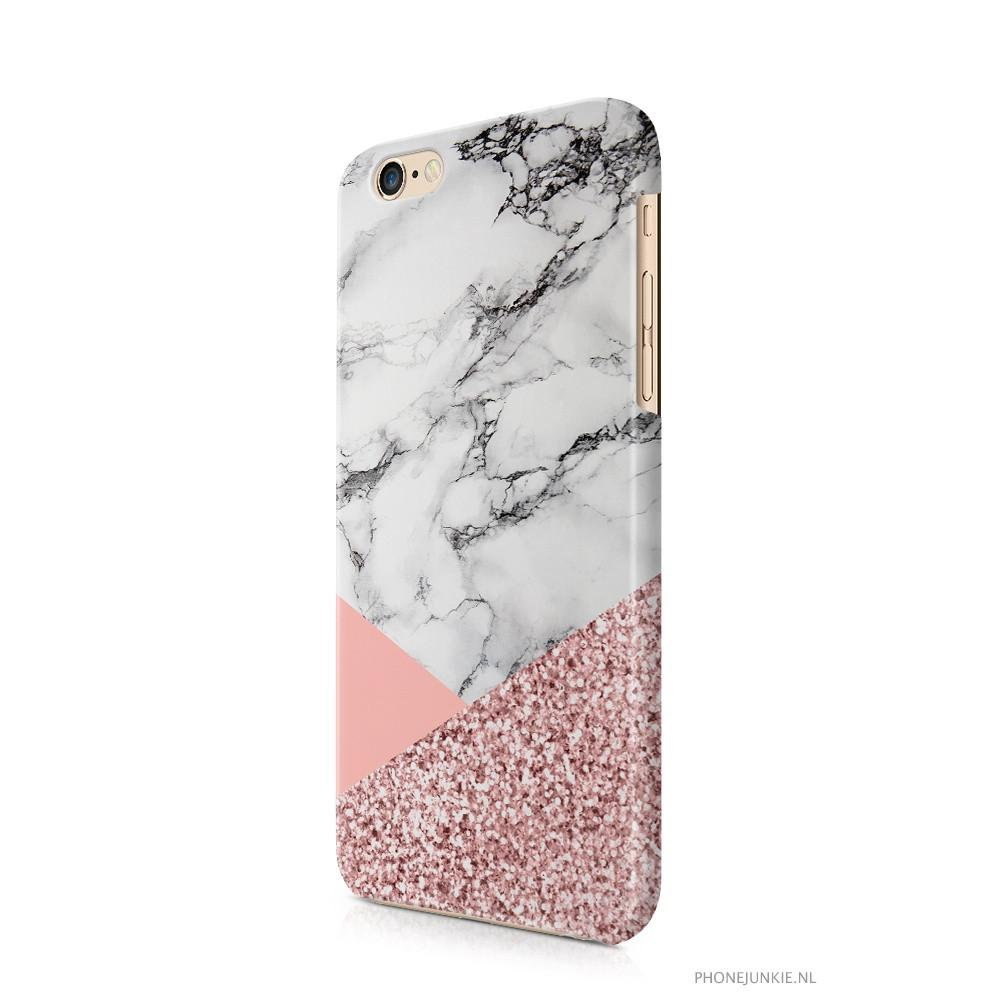 iPhone 6/6s hoesje - Rosegold Glitter Marble - PhoneJunkie