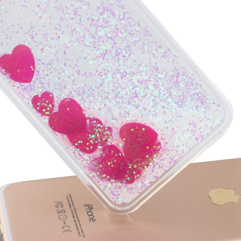 iPhone 7 - Glitter Big Hearts hoesje - PhoneJunkie