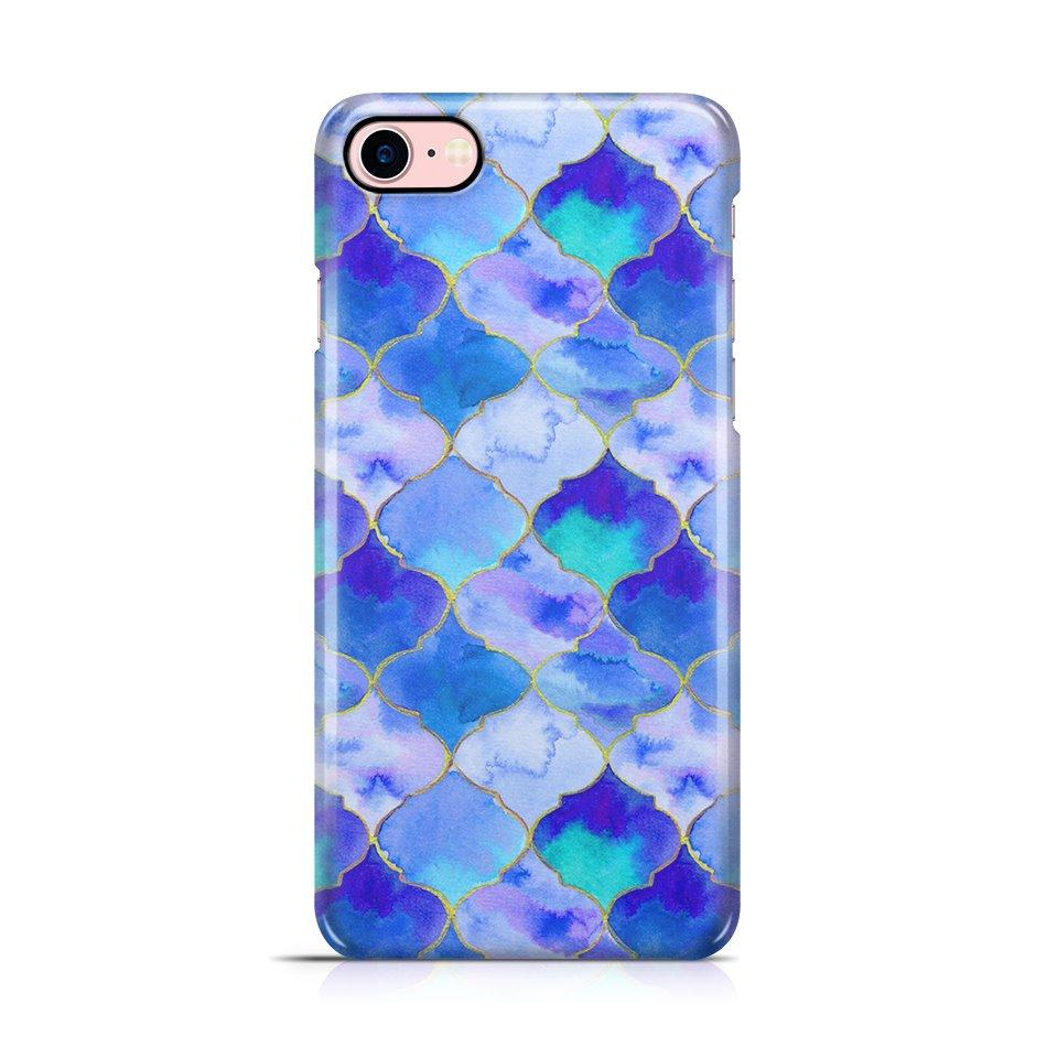 iPhone 7 hoesje - Blue Watercolor Tiles - PhoneJunkie - telefoonhoesje - naamhoesje - personaliseren