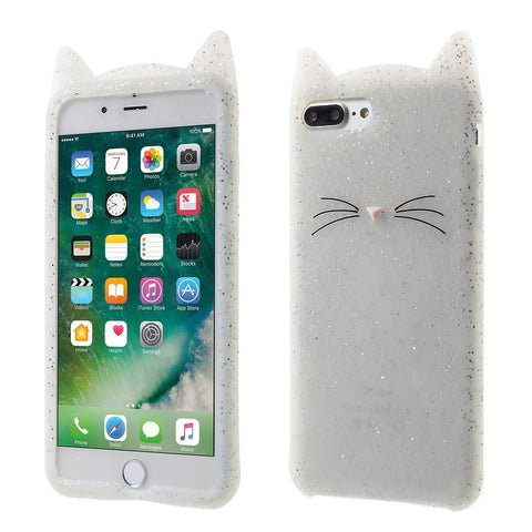 iPhone 7 Plus  / 8 Plus hoesje - White Glitter Cat siliconen hoesje - PhoneJunkie