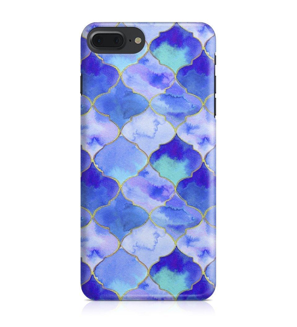iPhone 7 Plus hoesje - Blue Watercolor Tiles - PhoneJunkie - telefoonhoesje - naamhoesje - personaliseren