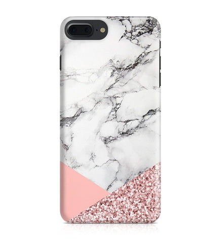 iPhone 7 Plus hoesje - Rosegoud Glitter Marmer