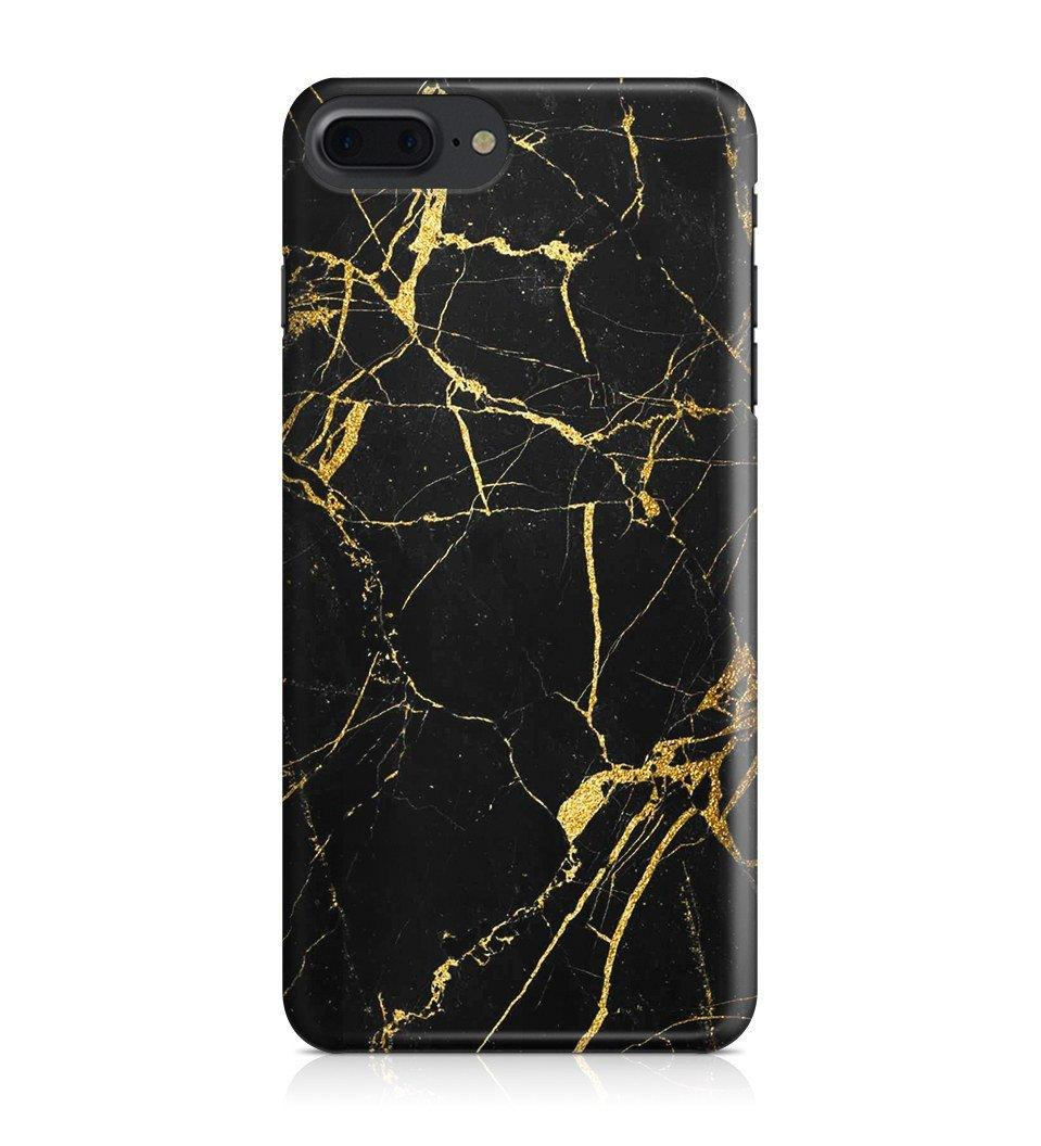 iPhone 7 Plus hoesje - Zwart/Goud Marble - PhoneJunkie