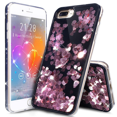 iPhone 7 - Glitter Big Hearts hoesje