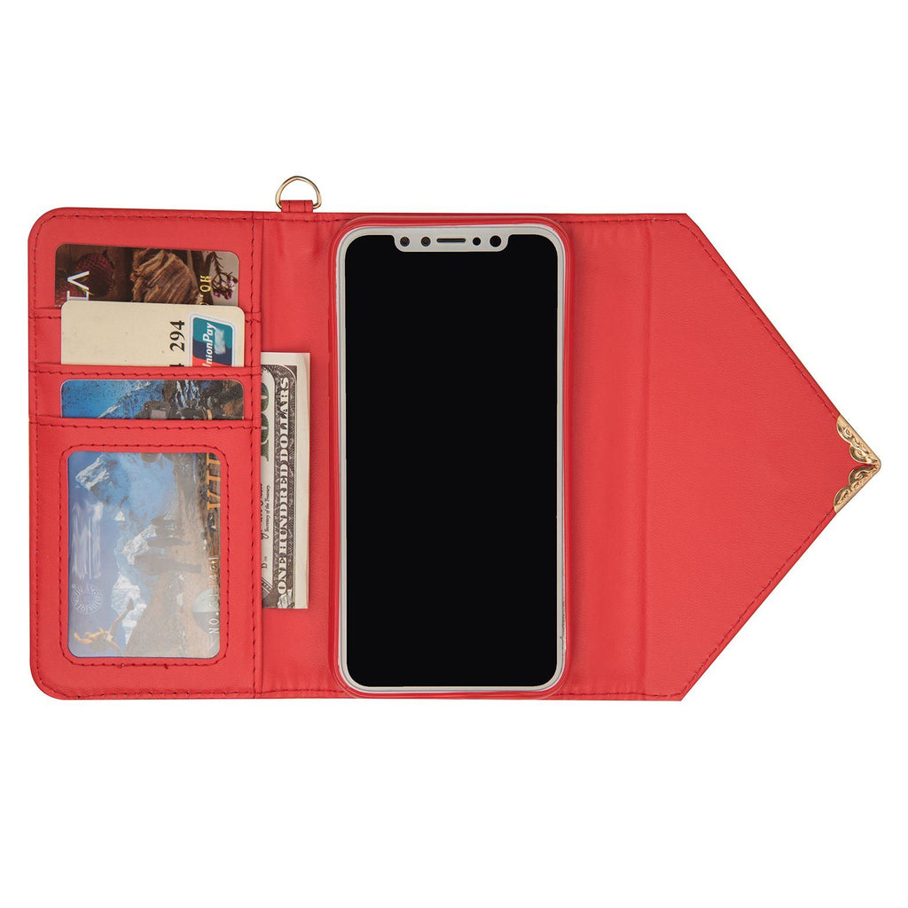 iPhone X - Valentino Wallet hoesje Rood - PhoneJunkie