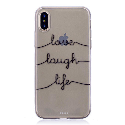 iPhone X hoesje - Laugh Love Life transparant