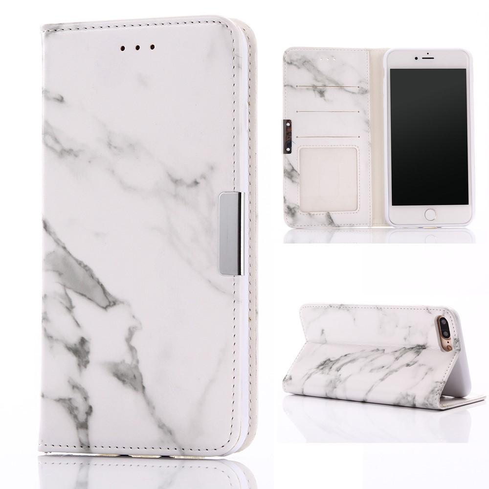 iPhone 7 Plus / 8 Plus hoesje - White Marble Deluxe fliphoesje - PhoneJunkie