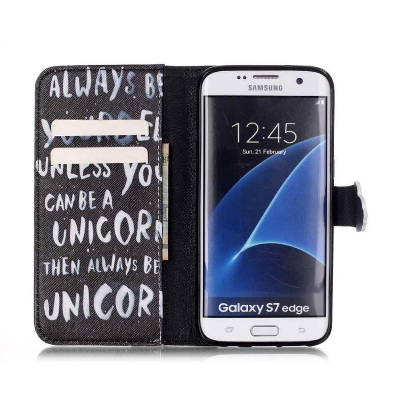 Samsung Galaxy S7 Edge hoesje - Unicorn Quote fliphoesje - PhoneJunkie