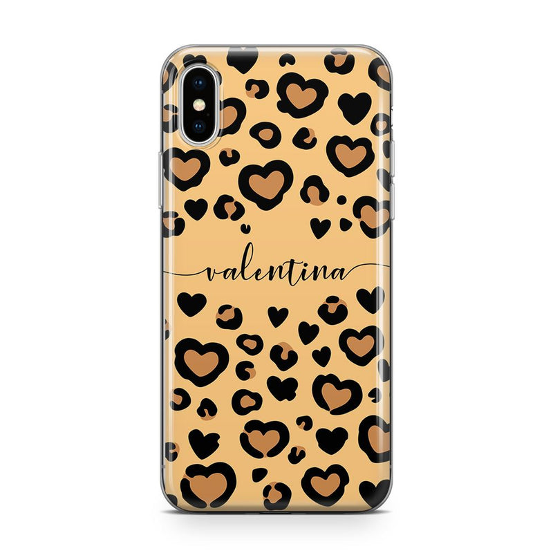 Leopard Love - Transparant Naamhoesje Custom Clear Cases PhoneJunkie