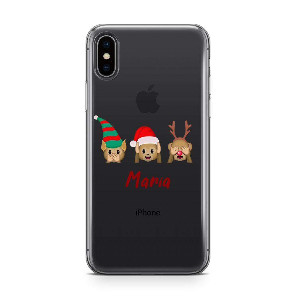 Xmas Monkeys - Transparant Naamhoesje Custom Clear Cases PhoneJunkie