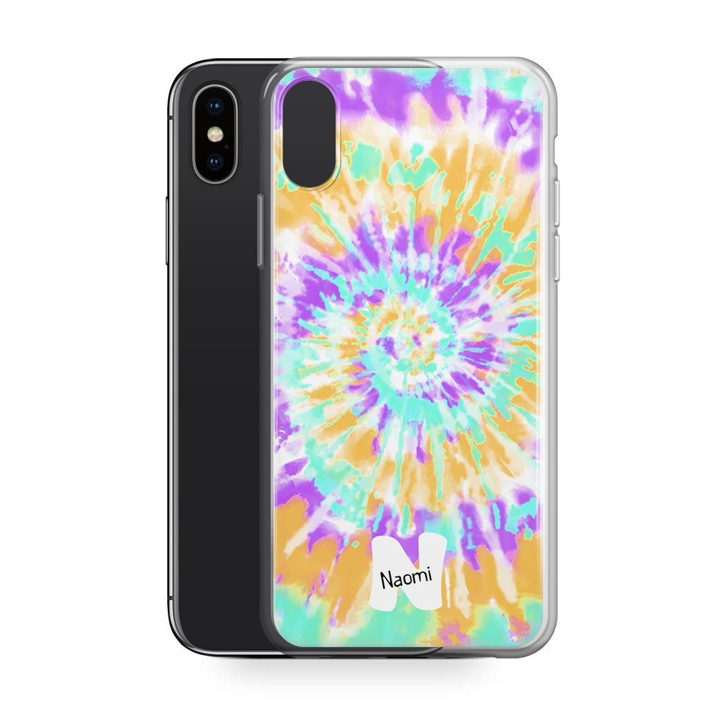 Tiedye Swirl - Transparant Naamhoesje Custom Clear Cases PhoneJunkie