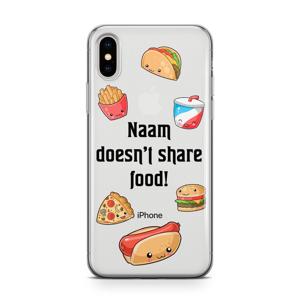 No Food Sharing - Transparant Naamhoesje - PhoneJunkie