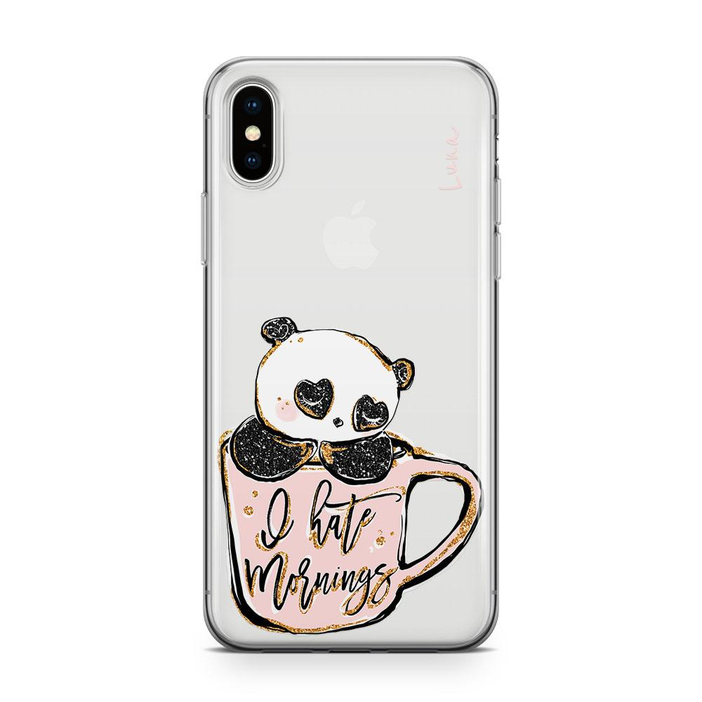 Panda Morning Coffee - Transparant Naamhoesje - PhoneJunkie