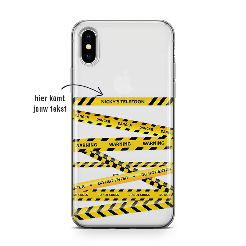 Do Not Cross - Transparant Naamhoesje Custom Clear Cases PhoneJunkie