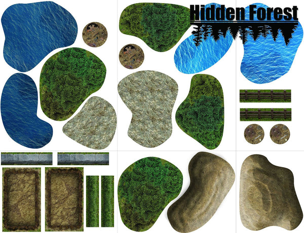 picture about 2d Printable Terrain named (Plastic) HiddenForest Terrain Pack for Warmachine and Hordes