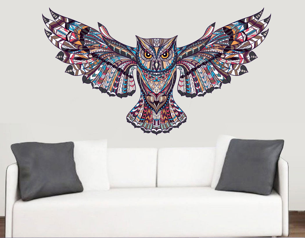 Colourful Patterned Owl Wall Art Vinyl Stickers