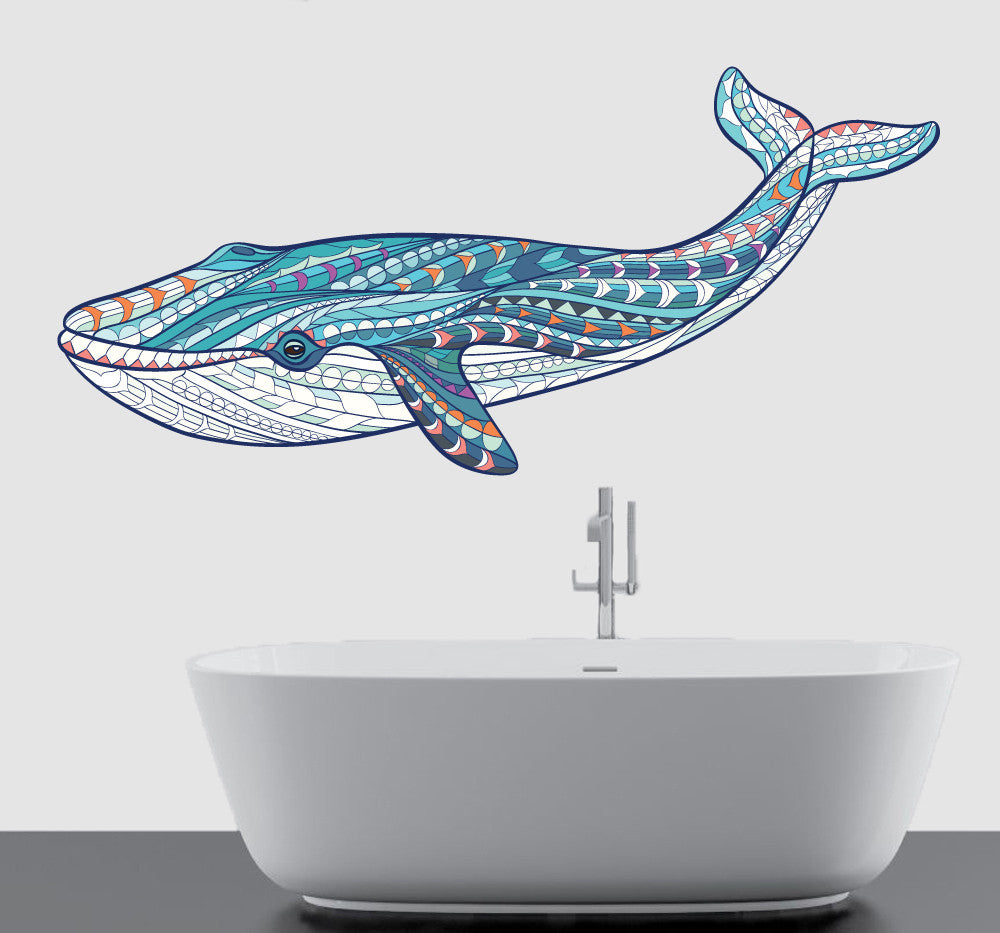 Colourful patterned humpback whale wall art vinyl stickers colourful patterned humpback whale wall art vinyl stickers amipublicfo Gallery