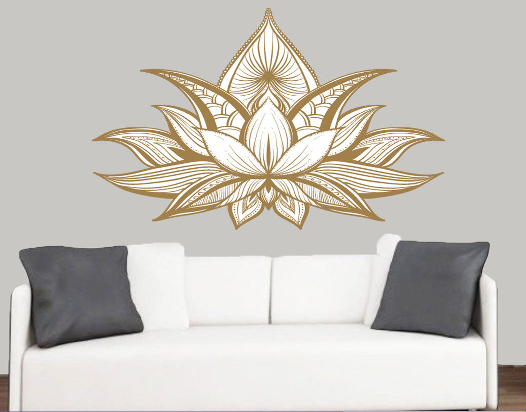 Detailed lotus flower design wall art vinyl stickers stickers on detailed lotus flower design wall art vinyl stickers izmirmasajfo
