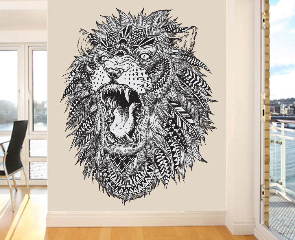 Detailed pattern roaring lion wall art vinyl stickers