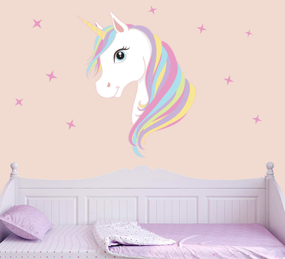 Colourful Unicorn Amp Stars Wall Stickers Living Bedroom
