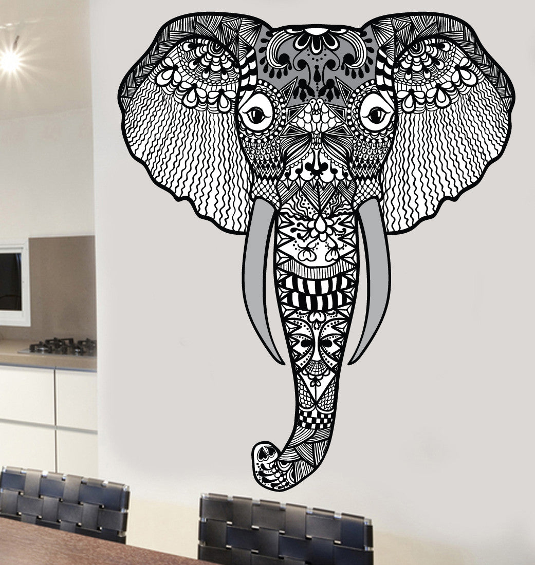 Indian Mandala Patterned Elephant Design Mural Wall Stickers ...
